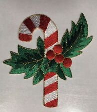 """candy cane patch holly leaves patch  holiday embroidered applique patch 3 1/8"""""""