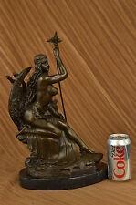 "Signed ""Amazon"" Nude Woman With Sword Bronze Statue Sculpture Art Deco Figurine"