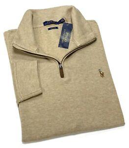 Polo Ralph Lauren Men's Quarter Zip Cotton Sweater In Dune Tan RRP£120
