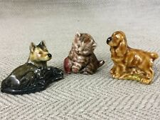 Wade Whimsies Figurine Dog Cat Kitten Alsatian King Charles Spaniel x 3 Figures