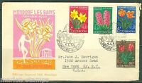LUXEMBOURG FLOWERS 1955  MICHEL#531/34   FIRST DAY COVER