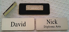 """Employee Name Tags Engraved (3.25""""x1.25"""") Rounded Corners, Silver, + magnet"""
