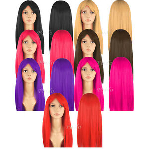 """WOMENS 18"""" FULL LONG FANCY DRESS WIGS STRAIGHT COSPLAY COSTUME LADIES WIG PARTY"""