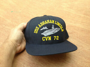 USS Abraham Lincoln CVN 72 Navy Command Caps Blue Adjustable Hat Made In USA