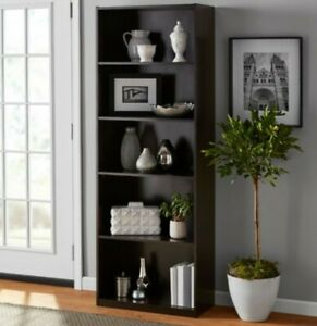 "71"" Storage Five Shelf Bookcase w/ Espresso Finish New"