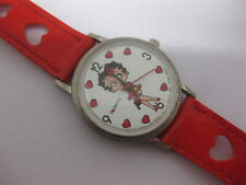 Betty Boop Watch Vintage Bright Ideas 1989 Red Band w/ Hearts Fresh Battery