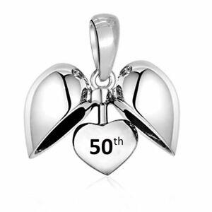 50th Charm Bead 925 Silver 50 Birthday Anniversary Gift Mum Wife Nan Nana Sister
