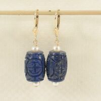 Natural Blue Lapis & Pearl 14k Yellow Solid Gold Leverback Earrings TPJ