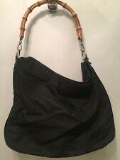 Gucci Black Canvas & Leather Bamboo Handle Shoulder Bag