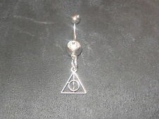 NEW 316 SURGICAL STEEL HARRY POTTER DEATHLY HALLOWS MINI 14 GAUGE CZ BELLY RING