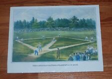 1865 The American National Game of Baseball Lithograph Color Reprint-11x15""