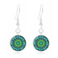 New 1~Tibet Silver Dome Photo Art 16MM Glass Cabochon Long Earrings mandala~217