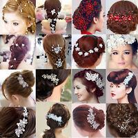 Flower Crystal Bride Hair Accessories Headpiece Pearl Wedding Jewelry Hair Combs