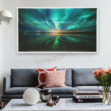 Teal Northern Lights Canvas Prints Painting Picture Wall Home Art Decor Unframed