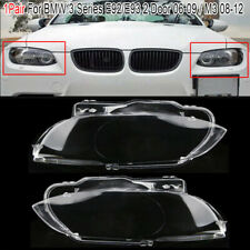 1Pair Clear Front Headlight Lamp Lens Covers For BMW M3 E92 E93 3-Series 06-09