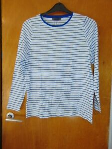 M&S Crew Neck Top L/Sleeved Striped 100%Cotton 8 14 16 18 Blue Mix BNWT