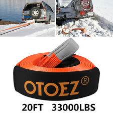"""Heavy Duty Recovery Tow Strap Emergency Rope 3""""x20' 15 Tons 2 Protective Sleeves"""