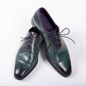 Great $3450 BERLUTI Green Oxford Leather Shoes 7UK/8US/41EU