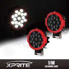 "RED 51W 7"" LED WORK SPOT LIGHT BEAM OFF-ROAD ATV JEEP TRUCK FOG HEADLIGHT 2PC"