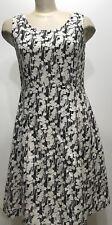 Talbots Floral Black Sleeveless Zip Up Women Dress Size 8