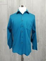 Geoffrey Beene Mens Button up Solid Teal Blue Dress Shirt Size Large 15 34/35