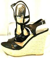 Vince Camuto Inslo 2 Sandal Women's Sz 7.5 M Black Leather Espadrille Wedge Heel