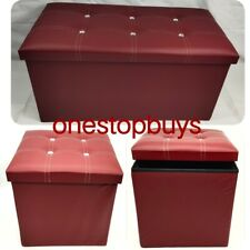 diamante storage Fordable ottoman heavy duty leather Pouffe foot stool toy box