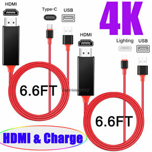 USB-C Type C Phone to 1080p HDMI HDTV AV TV Adapter Cable Cord 3 in 1 Hub Mirror