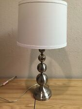 Brushed Steel Table Lamp Pair Living Bed Room 28 inch Shade incl. Set of 2 lamps