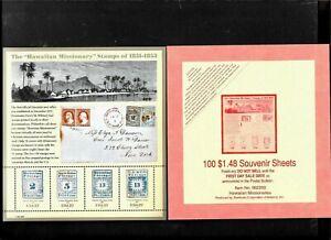 US HAWAIIAN MISSIONARIES #3694 VINTAGE MNHXF SOUVENIR 37c STAMP SHEET + TOP CARD
