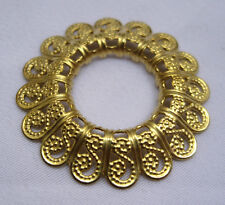 Round Brass Filigree Findings for Jewelry Making Golden Decorations bf088(10pcs)