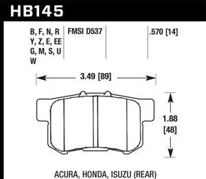 Hawk Performance HB145 Street Rear Brake Pads.For Acura / Honda / Isuzu / Suzuki