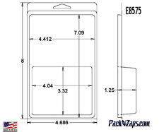 """E8575: 300 - 8""""H x 4.6""""W x 1.25""""D Clamshell Packaging Clear Plastic Blister Pack"""