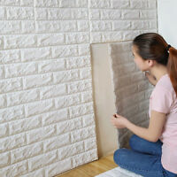 White 3D Wall Stickers Self Adhesive Panel Embossed Brick Retro Home Wall Decor