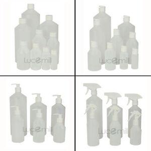 HDPE PLASTIC BOTTLES Choose WHITE CAP TYPE & BOTTLE SIZE 30ml - 1 Litre (L)