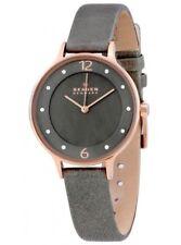 *BRAND NEW* Skagen Women's Rose Gold Stainless Steel Grey Leather Watch SKW2267