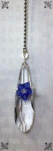 Handcrafted Glass Drop Bead Silver Blue Purple Belt Fan Pull Made With Swarovski