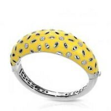 "Belle Etoile authentic 925 Charlotte yellow enamel bangle bracelet 7.5"" NWOT"