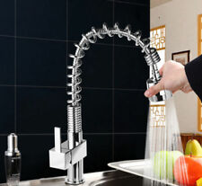 Brushed Kitchen Swivel Spout Single Handle Sink Faucet Pull Down Spray Mixer Tap