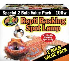 Repti Basking Spot 100 W Watt Reptile Terrarium Light 2 Bulb Value Pack Zoo Med