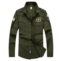 Fashion New Men's Clothing Army Military Style Casual Long Sleeve Shirts CS349