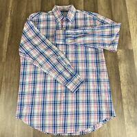 Peter Millar Mens Shirt Medium Multi Color Pink Blue Plaid Long Sleeve Button up