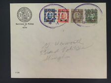 1940 Shanghai China French Police Force Cover Local Use Oval Cancel 3
