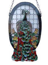 PEACOCK TIFFANY STYLE LEADLIGHT WINDOW PANEL - WILL SHIP AUSTRALIA WIDE