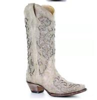 Womens Pointed Toe Western Cowboy Mid Calf Rhinestone Pull On Chunky Heel Boots