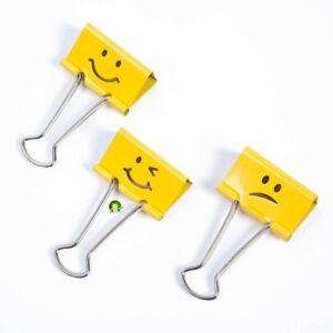 Rapesco Emoji Yellow Foldback  Clips Paper Document 19mm Bulldog Metal Pack 20