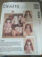 """New Listing7434 Uncut Vintage McCalls Sewing Pattern 18"""" Doll + Clothes + Transfer Oop Emma"""