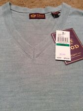 Izod sweater size large vneck wool blend Seafoam blue color new with $70 tags