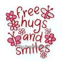 Free Hugs and Smiles - DIY Iron On Glitter T-Shirt Heat Transfer - NEW