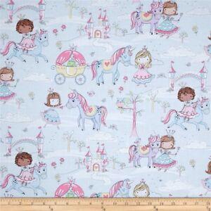 Glitter Princess/Unicorns Fabric 100% Cotton Half Yard 45cm x 110cm